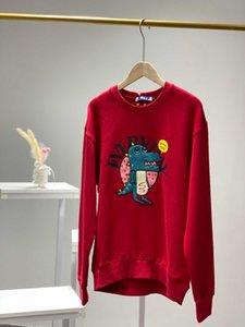 Женская толстовка мода маленький динозавр вышивка печать длинные рукава длинные толстовки женские Sportswear уютные
