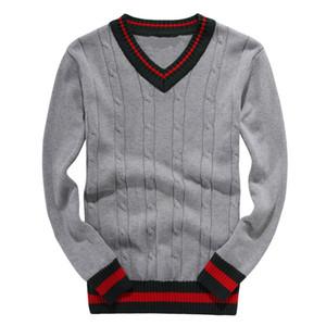 Высокие продажи шею мужчины досуг свитера роскошный свитер вышивки с длинным рукавом пуловер вязание свитер на молнии кардига сплошной цвет рубашки