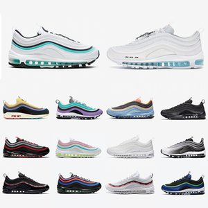 Aurora Green Jesus 97 Women Men Running Shoes Bred UNDEFEATED 97s Triple Black White Multi Sliver Bullet Sean Мужские спортивные кроссовки 36-45