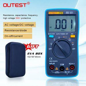 ZT98 цифровой мультиметр авто диапазон большой ЖК-дисплей удержания данных диода Multimetro с EVA случае