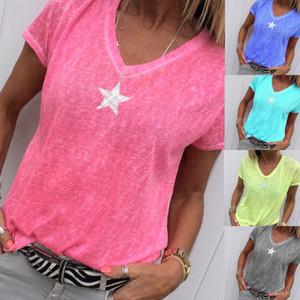 Новый женский 2019 весна лето вязание V-образным вырезом пентаграмма печатные твердые футболки женщины повседневные топы тройники футболка одежда