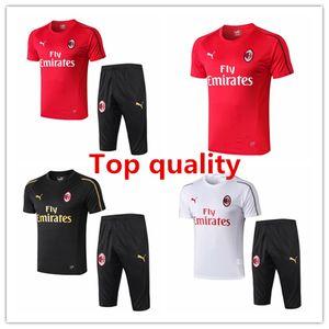 AC Mailand Herren Hosen Borini piątek kurzen Ärmeln T-Shirt 18 19 Trainingsanzüge Fußball-Trikot Zlatan Ibrahimovic Camiseta Training Polohemd-Kits