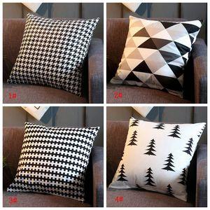 Negro Blanco Enrejado de lino de almohada cubierta 18 * 18inch del Ministerio del Interior Sofá Plaza almohada Funda de almohada decorativa fundas de cojines fundas de almohada DBC BH3541