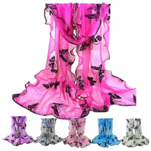 Lusso donna del design pizzo orlato annata sciarpa colorata farfalla garza Veil sciarpa lunga Grande morbida involucri dello scialle