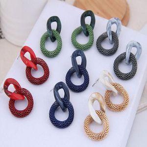 European and American fashion exaggerated acrylic chain earrings Korea Joker mesh earrings round colored earrings women
