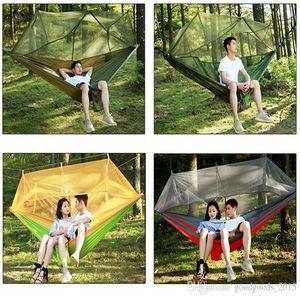12 cores 2 pessoas Parachute Mosquito Net Hammock Chair Turismo Hammock Rede balanço do jardim Camping Hammock Dormir hamacks