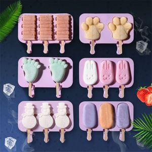 Silicone Gelato stampo Popsicle Stampi fai da te in casa del fumetto Ice Cream Ice Maker stampo con 50 Legno Stick JK2006KD
