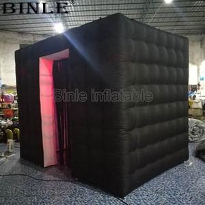 Neue Art 3x2.1x2.4m schwarze aufblasbare Fotokabine mit geführten tragbaren Hochzeitsinnenhintergrund der Quasten für Verkauf