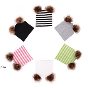 INS Newborn Winter Warm Striped Knit Cap Double Fur Pompom Ball Beanies Cap Baby Boys Girls Fashion Hip Hop Hats Party Favor RRA2690