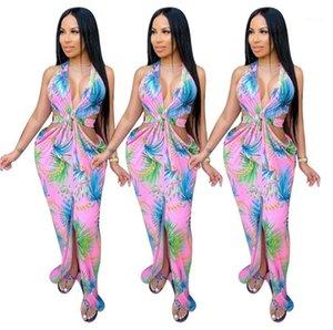 Neck Dress Fashion Halter Backless Hollow Out Split Floral Dresses New Women Summer Dress Women Sexy V