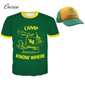 التي شيرت غريب الأمور T قميص داستن حلي قصيرة الأكمام أحد عشر الأعلى المحملة قبعة البيسبول كامب تعرف أين أخضر أصفر