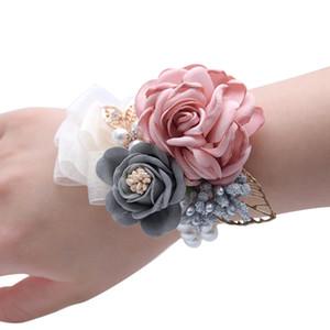 10piece / много Самые популярные цветы корсаж Wedding лучезапястного сустава Бутоньерка сшитое Pearl Rose Лента наручные Цветы
