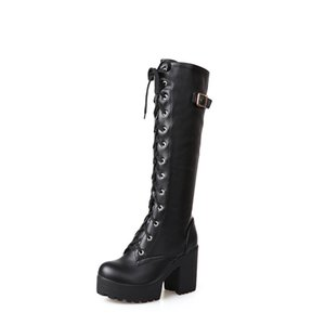 Hot Sale Spring Autumn Lacing Knee High Boots Women Fashion White Square Heel Woman Leather Shoes Winter Large Size 34-43