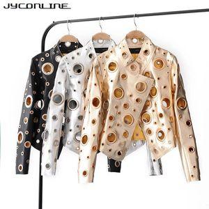 JYConline 2017 أزياء PU المرأة السترة الخريف المعدنية للسيارات الشرير منفذها سترات الفضة الذهبي الجوف خارج سترات أنثى الشارع الشهير S18101302