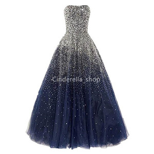Sparkly Ball Gown Princess Quinceanera Dresses Strapless Sequins Beaded Lace-Up Back Shinny Navy Blue Pageant Gowns Sweet 16 Dresses