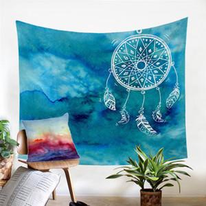 Aquarelle Dreamcatcher tapisserie bleu Tenture murale de style Art chinois Tapis Mandala Boho tapisserie Décoration d'intérieur