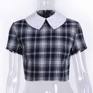 Goth escuro Aesthetic Preto Grunge T-shirt para as Mulheres Gothic Verão 2019 Patchwork colheita T-shirt Top Plaid Moda Turn Down Neck Y200109