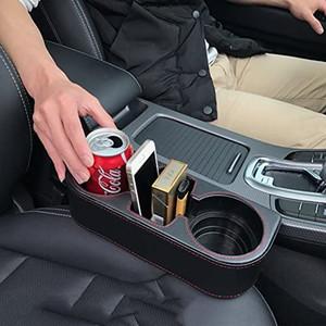 Coin Side Pocket Console Side Pocket capa de couro Cup Car Holder Frente Auto assento Organizador celular Detentor de telemóvel