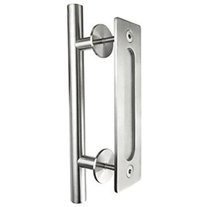 Brushed Stainless Steel Barn Door Handle Sliding Wood door handle barn door pull hande two side installation