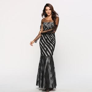 Novas mulheres Laca Tela Fio magro Famosa Menina Fan Ball President's Wine Evening Dress longo dress