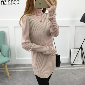 YiZiKKCO  2017 New Knit Pullovers Autumn Turtleneck Heaps Collar Sweater Women Long Sleeve Slim Sweater Jumper Sweter Mujer