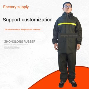 V3dWB Thickened 45-wire knitted cloth decomposition suit army green raincoat clothing Knitted cloth protective clothing raincoat protective