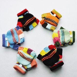 Winterkinder Handschuhe Warm Baby-Mädchen-Handschuhe für Kinder gestrickte Patchwork verdicken Handschuhe warme Hälfte fingerless mit Deckel Handschuhe M489