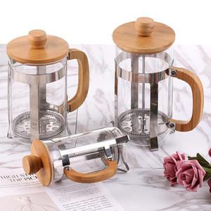 French Press café / chá com filtro de aço inoxidável reutilizável, Milk Frother, alta vidro borosilicato Carafe durável alça de bambu