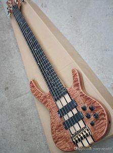 6 cordas da guitarra elétrica de baixo com captadores 2 pretos, 24 sons, chama bege verniz, hardware ouro, serviço personalizado