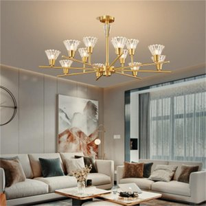 Modern Nordic crystal glass chandelier living room pendant lights bedroom pure copper lamps light original lighting ceiling lights