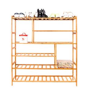 6 capas portátil de bambú férula multifunción zapatero Titulares de madera de color Racks almacenamiento en el hogar