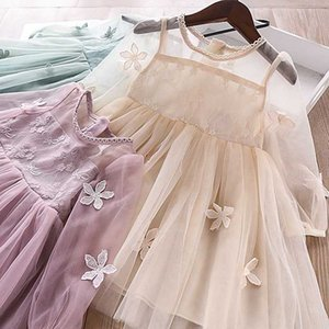 5269 Flowers Embroidery Princess Baby Girl Dress 2020 New Spring Party Wedding Kid Dress For Girl Wholesale Children Clothes Lot