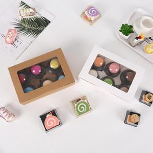 Şeker Bisküvi Çikolata Kağıt Karton karton hediye kutusu için plastik pvc pencere ile Kutusu Ambalaj 10pcs Kraft kağıdı Kurabiye kek