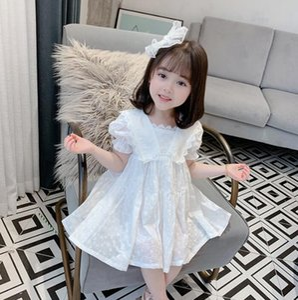 Nuova signora di estate del vestito dei bambini del vestito più venduti dei bambini della ragazza manica corta skirt merletto del pannello esterno del ricamo cava