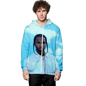 Americano Cantor Mens Designer de impressão 3D Digital camisola Moda manga comprida Casual Homme Vestuário Cardigan Sweater Pop solto