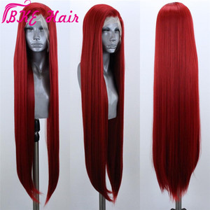 Высокое качество красный / розовый блондинка бразильская Парик фронта шнурка / для черных женщин 13x4 прямые кружева фронтальная парик Синтетический Pre Сорванные с волосами младенца