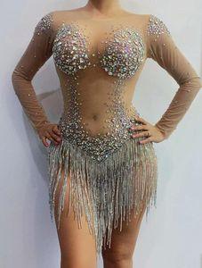 Rhinestone equipar Malha Bodysuit Mulheres DS Costume Cantora Stage Wear cadeia Malha Rhinestone DJ dança desgaste do partido estiramento Ir