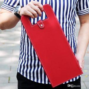 Pratik saklama çantası düz renk Cortex kırmızı şarap çanta Resuable Üçgen Katlanır taban kılıfı düğün kolay taşıma Için 16jx cc