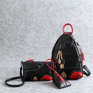 VANDERWAH 3 комплекта Многофункциональная женщин Рюкзак моды Vintage листьев плеча рюкзак сумка Chest Lady Рюкзаки Конструкторы Для Wome