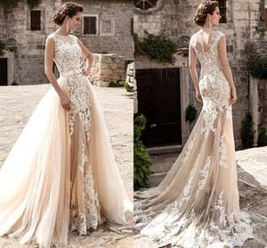 2020 Champagne Lace Пляж Line свадебное платье со съемными поезда Sheer Тюль аппликация Лук Sash Свадебные платья халата де mariée