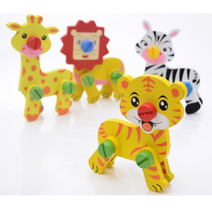 4 Style 3D Wooden Animal Puzzles 14x11cm lion tiger giraffe zebra cute assembly animals puzzles Infants colorful Wood intelligence toys