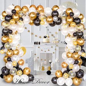 Black Gold Series Latex Balloon Chain Set Happy Birthday Balloon Wedding Party Decoration Adult Kids Baby Shower Supplies