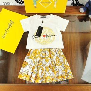 2020 Summer fashion 2pcs sets kids girls cotton t-shirts+print floral ruffle pleated skirts stylish outfits ..
