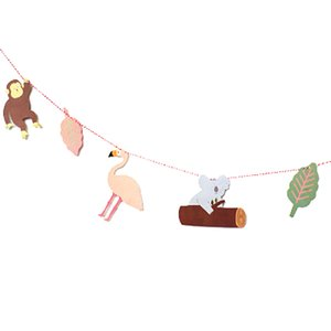 1pc Kids Birthday Party Decor Supplies Circus Forest Lion Elephant Concert Banner Baby Shower Cartoon Animal Garland Paper Flag