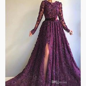 2019 púrpura oscuro vestidos de noche de la manga Una línea de piso de tren de Split joya largo del cordón vestidos de noche ocasión especial vestido de noche formal del partido