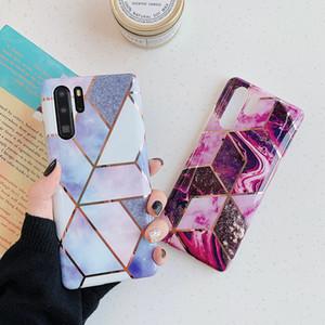 Custodia Soft Marble TPU Telefono mosaico di pietra di copertura placcato geometrica di lusso per Huawei P40 Pro P30 lite Mate 20/30 Nova 3e / 4e