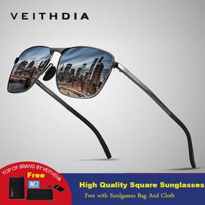 Veithdia 2019 Marka Yeni Tasarımcı Moda Kare Güneş Erkek Polarize Kaplama Ayna Güneş Gözlükleri Erkekler Için Gözlük Aksesuarla C19041001