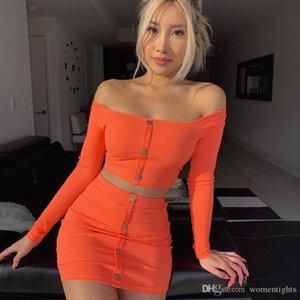 Kadınlar Düğme Casual Şeker Renk Kadın Giyim ile Boyun 2adet Elbiseler Bahar Seksi İnce Elbise Slash
