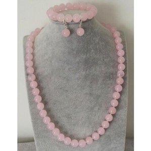Al por mayor natural de 8 mm de color rosa piedra preciosa del jade que collar de perlas pulsera del pendiente de la manera del encanto de