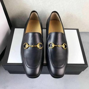Marque Jordaan cuir noir oisif nouvelles chaussures de sport Les mocassins Horsebit hommes classiques de taille 38-44